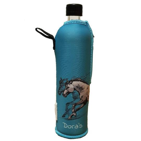 Glasflasche mit Neoprenbezug Pferd (500 ml) - DORAs
