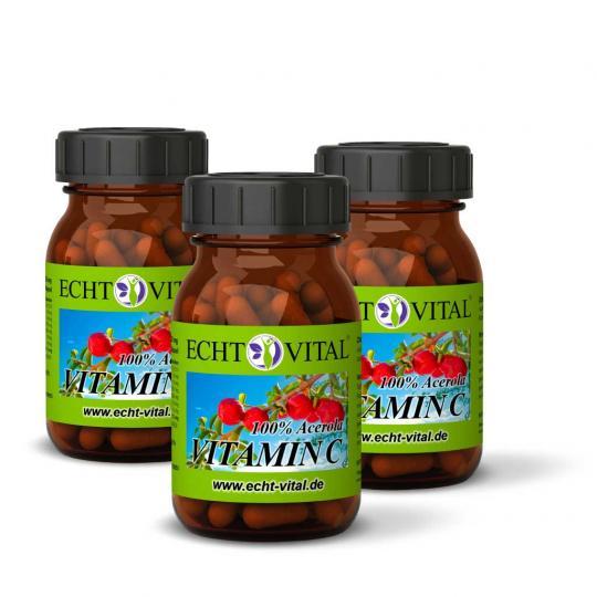 Vitamin C Kapseln - 3er Pack (3x 60 Stück)  -  Echt Vital