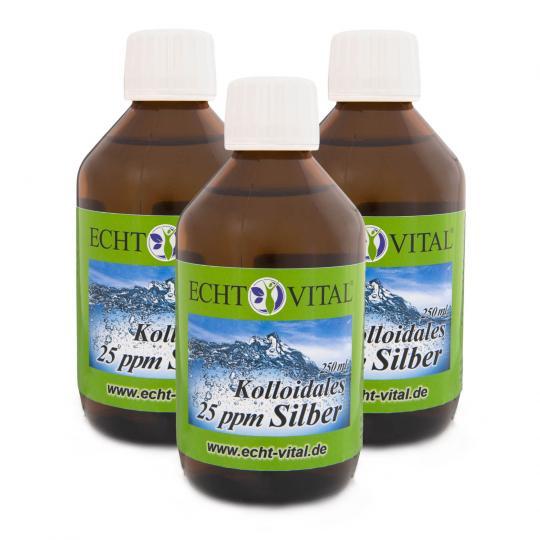 Kolloidales Silber - 25 ppm - 3er Sparpack (3x 250ml) - Echt Vital