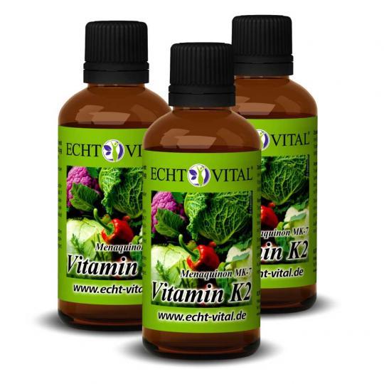 Vitamin K2 Tropfen - 3er Sparpack (3x 50ml) - Echt Vital