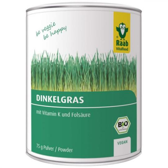 MHD 09/18 ... Dinkelgras Pulver (Bio) 75g - Raab Vitalfood