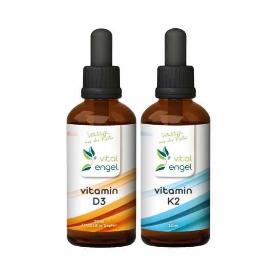 SET - Vitamin D3 + Vitamin K2 Tropfen  (2x 50ml) - VITAL ENGEL