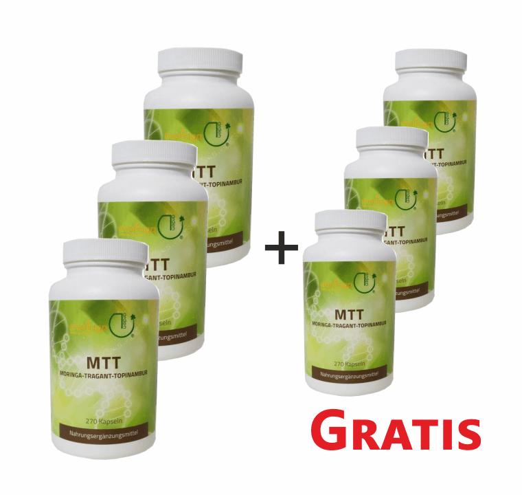 MTT-Kapseln (3 + 3 Dosen) - Moringa - Tragant - Topinambur (6 Monats-Ration)