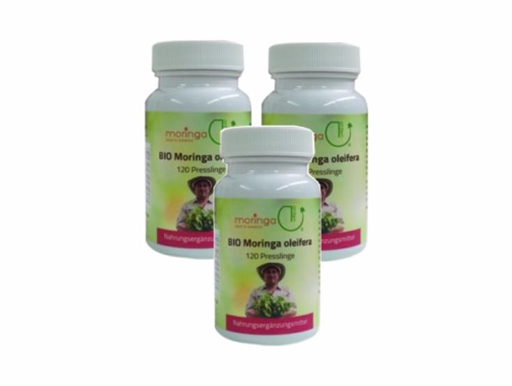 Bio Moringa Presslinge 120 Stück (NEU - ohne Zellulose) (3er Pack)